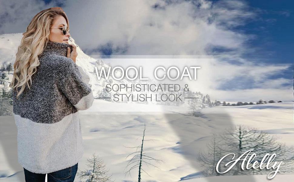 Alelly Women's Long Sleeve 1/4 Zip Pullover Jacket Outwear Sweatshirt Winter Coat