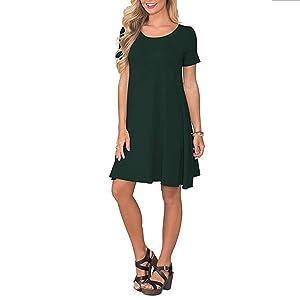 Dark Green T-Shirt Dresses