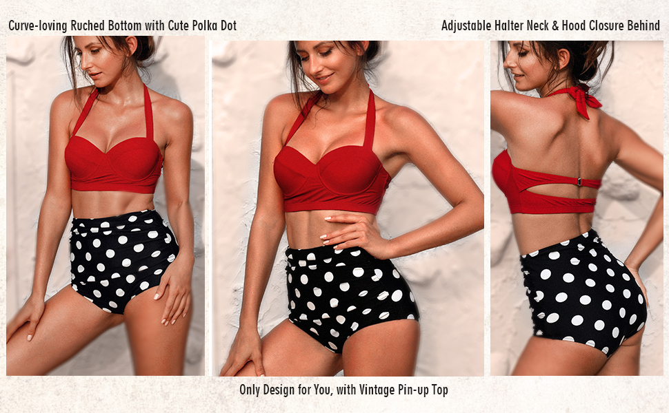 5ca4576b516ef Amazon.com: Angerella Women Vintage Polka Dot High Waisted Bathing ...