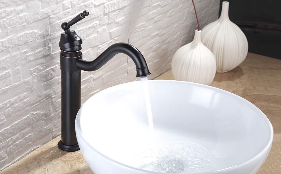 Fapully Modern Single Handle Bathroom Sink Faucet Long Curved ...
