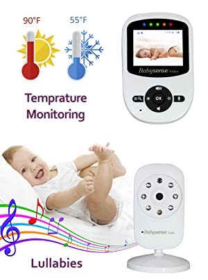 Babysense video monitor with room temperature monitoring and lullabies