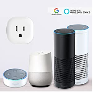 Wifi Smart Plug Compatible with Alexa & Google Assistant, Wireless Mini Smart Switch Outlet