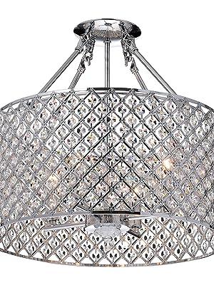Marya 4 Light Chrome Round Shade Crystal Semi Flush Mount Chandelier Ceiling Fixture Beaded Drum Shade Amazon Com