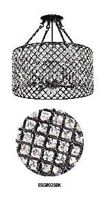 Marya 4 Light Chrome Round Shade Crystal Semi Flush Mount Chandelier Ceiling Fixture Beaded Drum Shade