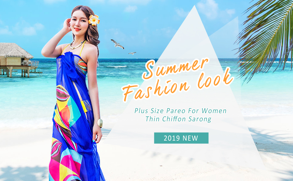936cc6b1aaa5a GERINLY Chiffon Thin Sarong Wrap: Geometrical Design Plus Size Beach Cover  Up