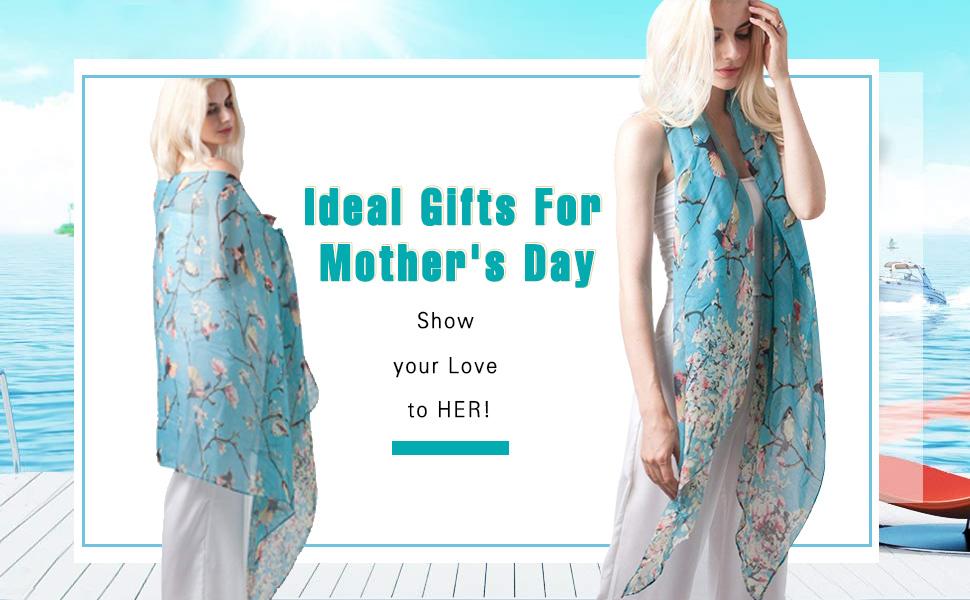 31b415937d GERINLY Scarfs for Women Spring Lightweight Floral Birds Print Dress ...
