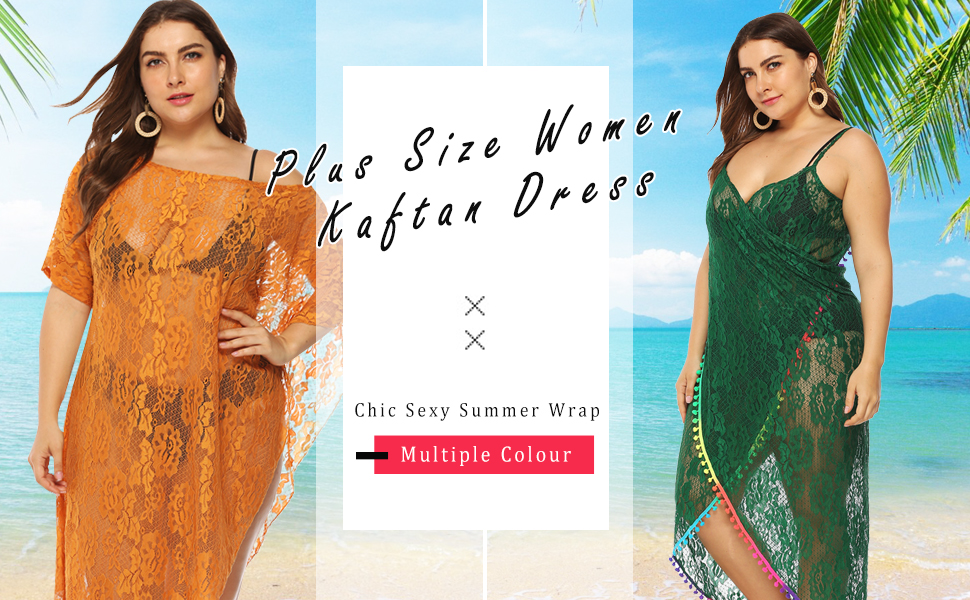 ddb257ba27 GERINLY women plus size cover up beach lace cardigan mesh sexy sarong long  dress for women