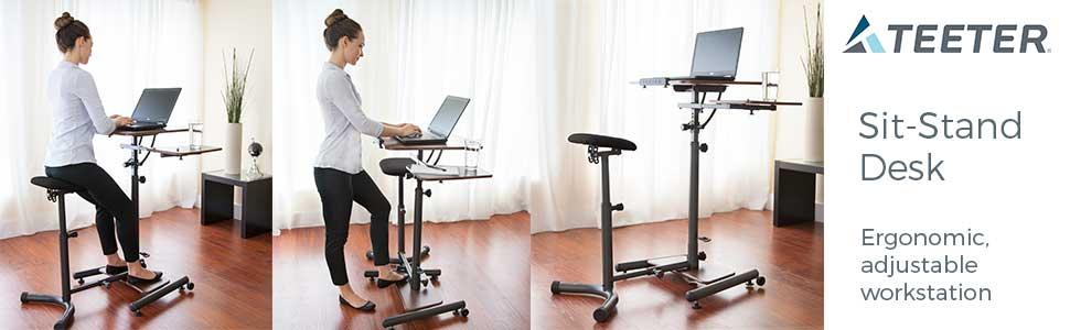 Teeter Sit-Stand Desk, ergonomic adjustable workstation