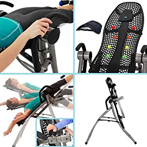 Teeter inversion table, support hand grips, comfortable, easy reach
