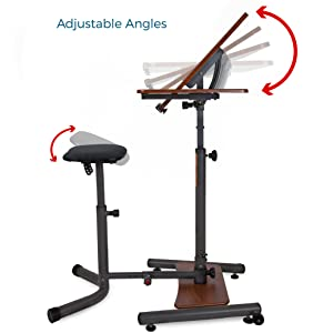 Adjustable angles, stool, standing desk