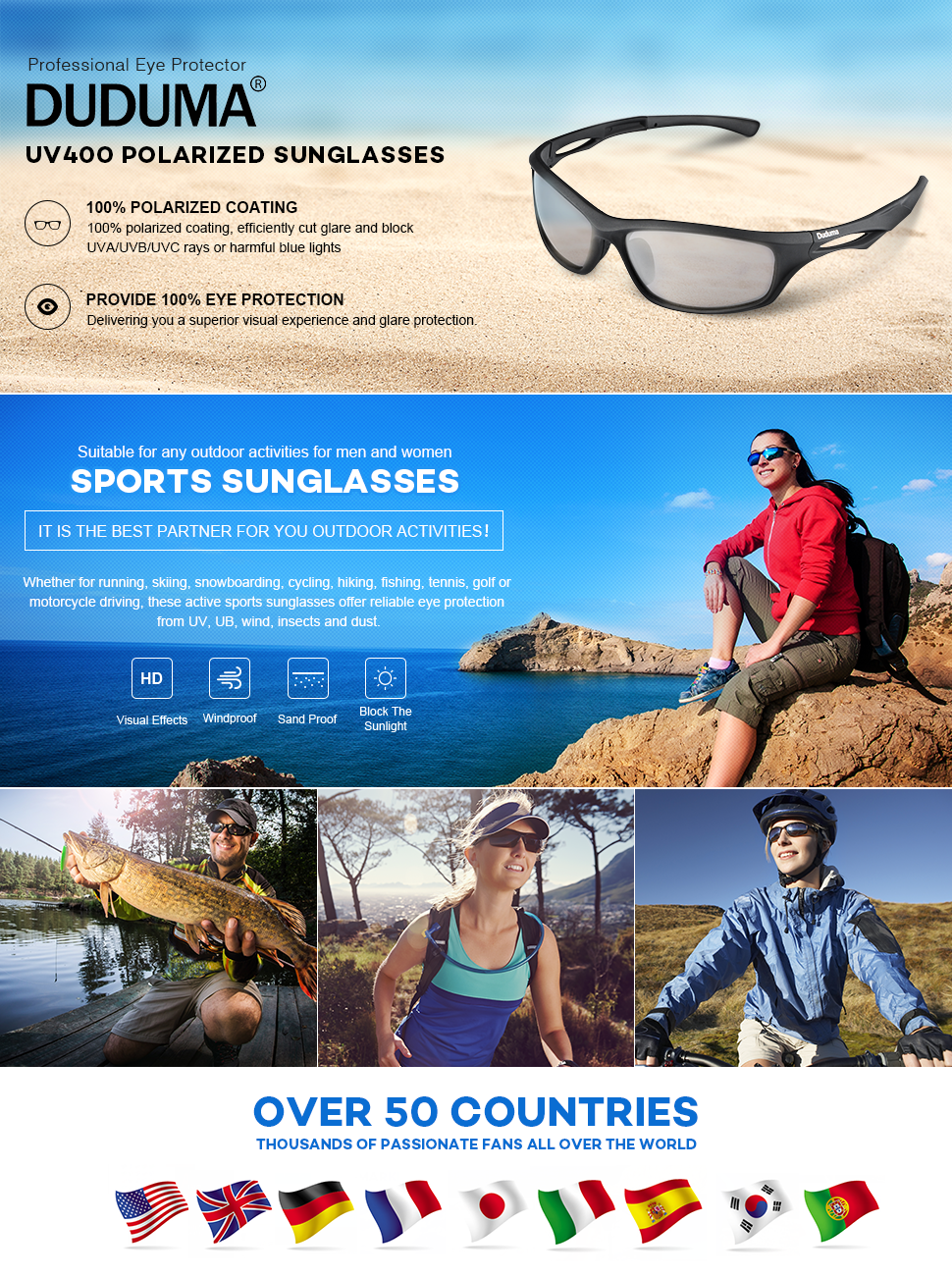 27877fc9761b Amazon.com  Duduma Polarized Sports Sunglasses Sports Wrap for ...