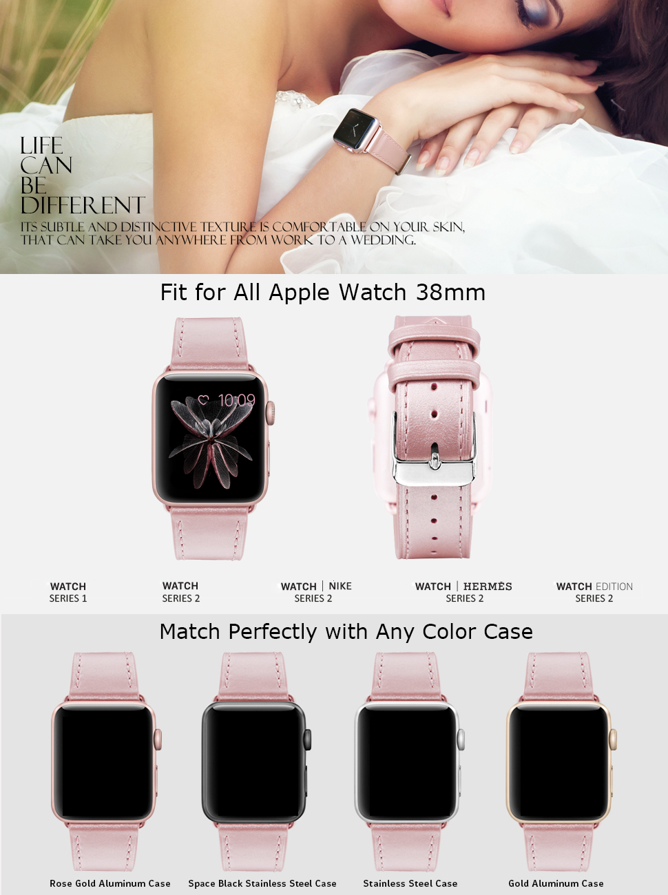 Replacement genuine leather band strap apple watch series 3 2 1 38mm rose gold ebay for Rose gold apple watch