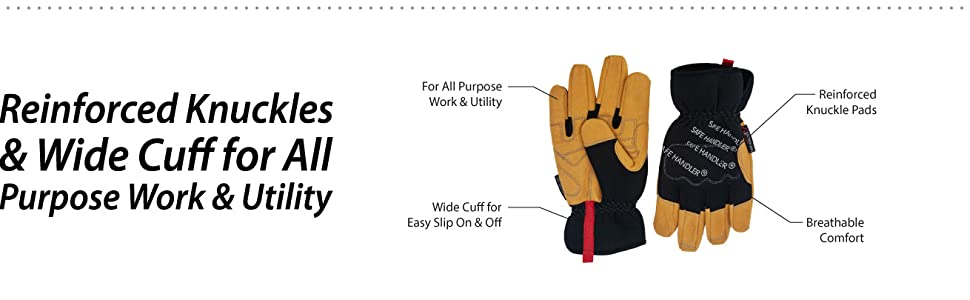 Image of a pair of Safe Handler Handyman Work Gloves with detailed layer and material information.