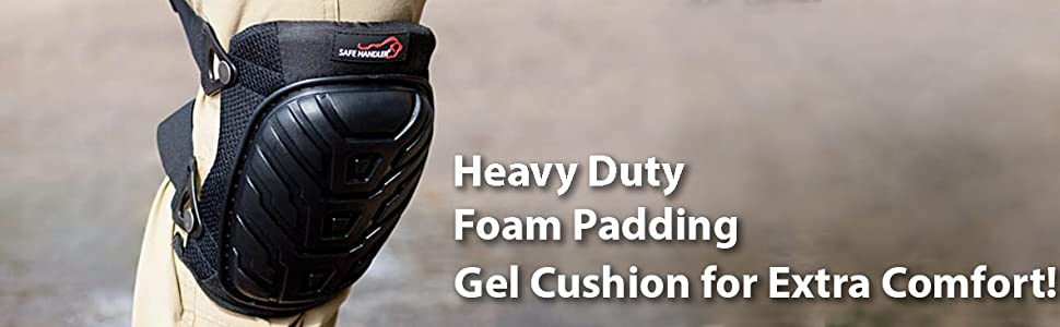 Image of a breathable black knee pad up close outdoors.