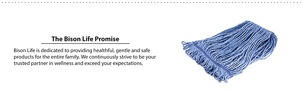 The Bison Life Promise with a picture of a blue replacement mop head.