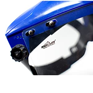 Image of cams on face shield close up.
