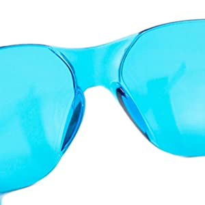 Image of turquoise safety glasses on a white background.