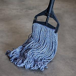 Image of a blue mop head up close, wringer mop by Bison Life's Kleen Handler