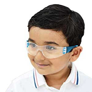 Image of a small child wearing safety glasses.