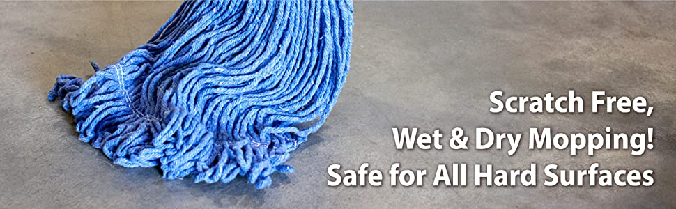 Image of a blue wringer mop head in use on a concrete floor by Bison Life's Kleen Handler.