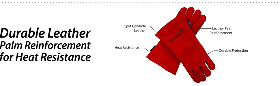 Image of red welding barbecue gloves with informative detailed information highlighted.