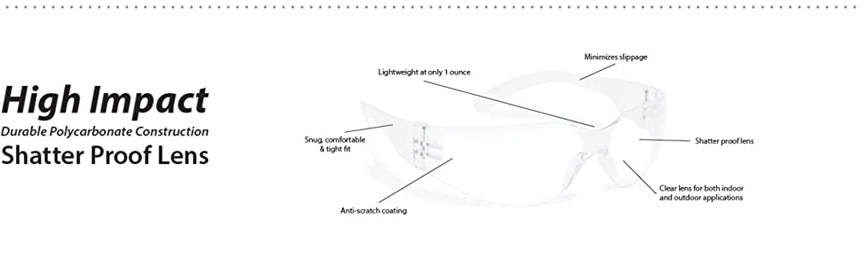 Image of pair of Clear Lens Clear Temple safety glasses with detailed information.