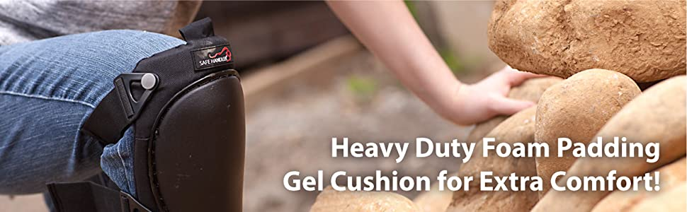 Image of Heavy Duty knee pad on a person climbing rocks.