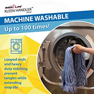 Image of a mop head being put in a washing machine because it is a washable mop.