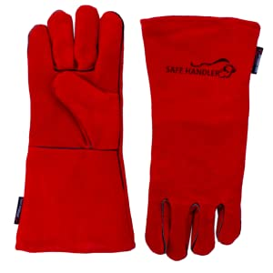 Image of the front and back of a pair of red bbq welding animal handling gloves.