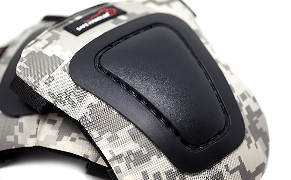 Image of camouflage knee pads up close on a white background.