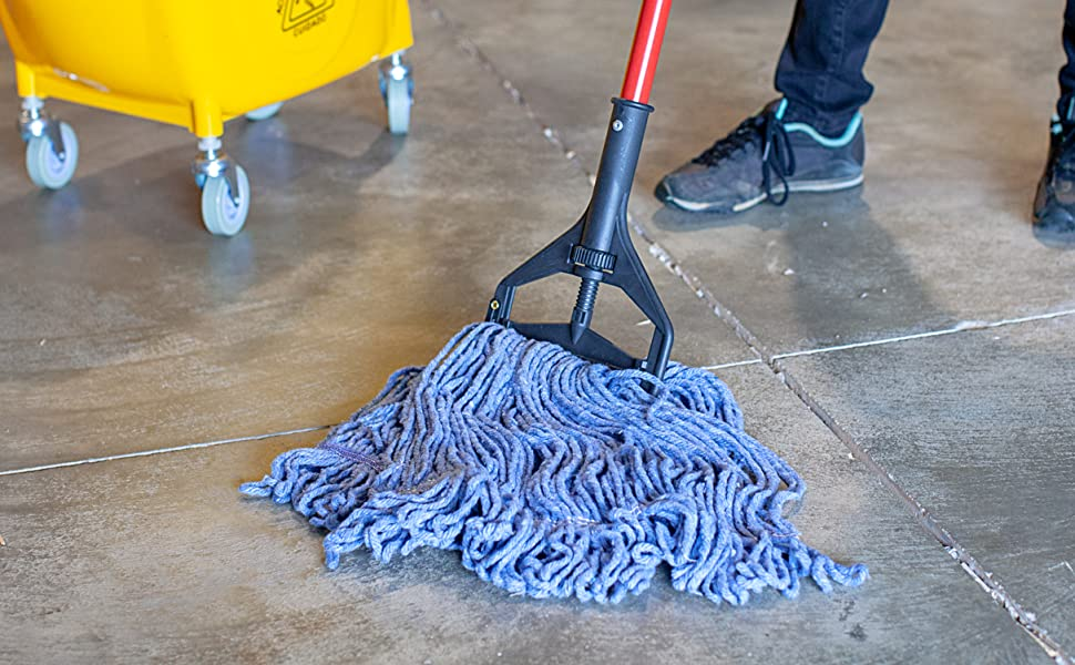 Image of a blue mop head in use with a red mop handle by Bison Life's Kleen Handler