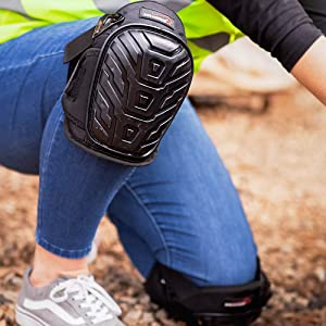 An image of a person wearing breathable knee pads outdoors.
