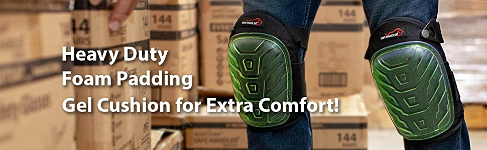 Image of a man wearing green heavy duty knee pads in a warehouse.