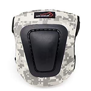 Image of a camo knee pad on a white background.