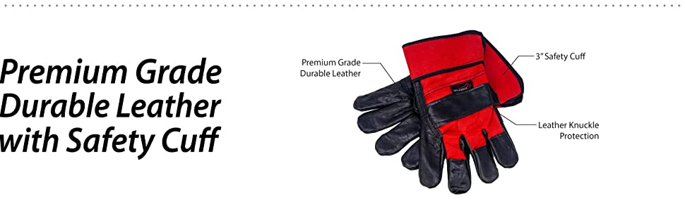 Image of a pair of Safe Handler Premium Work Gloves with detailed layer information.