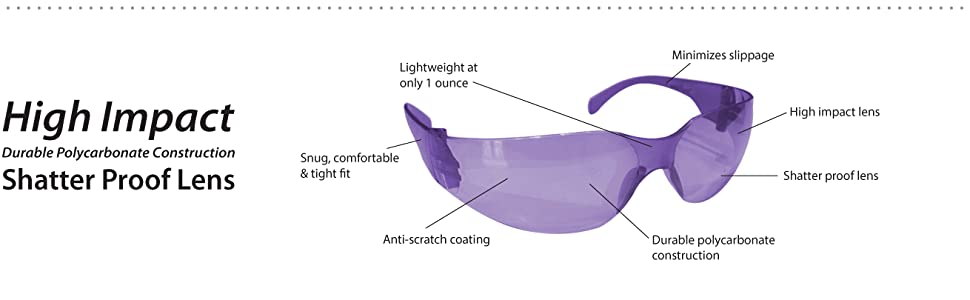 Image of purple safety glasses with detail information as an informative drawing.