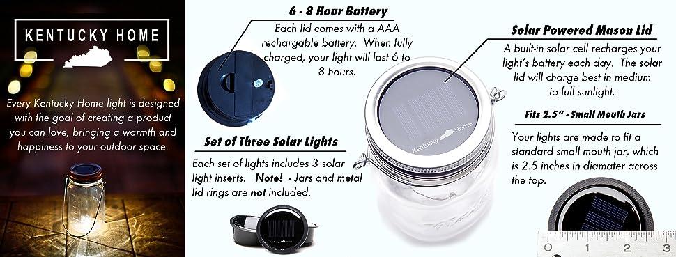 Amazon Com Kentucky Home 3 Pack Solar Mason Jar Lid