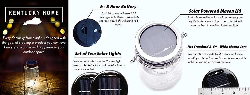 Amazon Com 2 Pack Wide Mouth Solar Mason Jar Lid