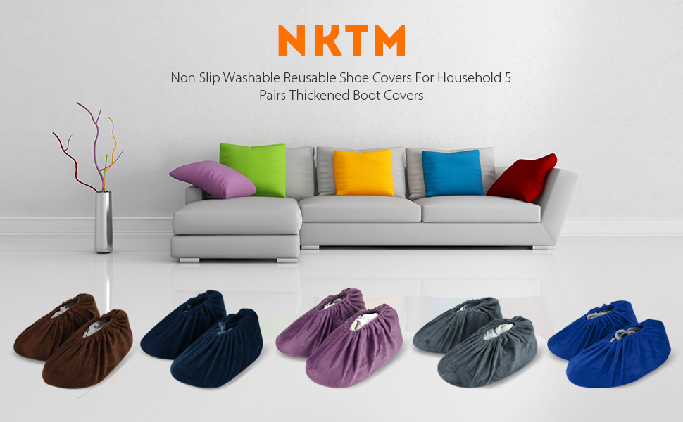 0865f61c492 NKTM 5 Pairs Non Slip Washable Reusable Shoe Covers Thickened Boot Covers  For Household