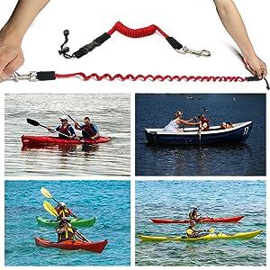 2 pcs  Kayak Canoe Rafting Fishing Rod Oars Elastic  Lanyard Paddle Leash Cord