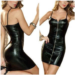759968f8649 Rozegaga Women Sexy Zipped up Faux Leather Mini Club Party Dress ...