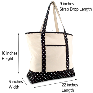 black star tote sizing and drop handle dimensions