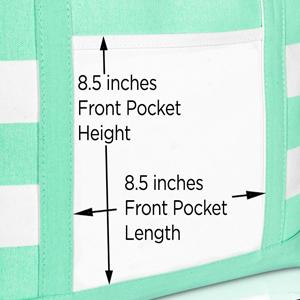 tote bag front pocket dimensions