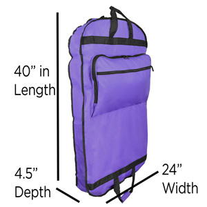 GB-001-Purple Garment Bag dimension