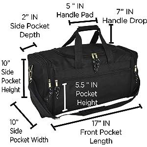 black duffle bag