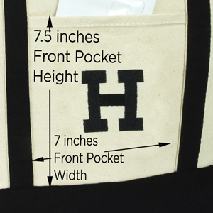 pocket size and embroidery closeup
