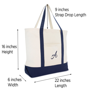 shopping tote sizing and drop handle dimensions
