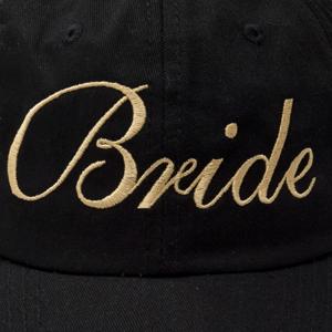 close u stitching of bride hat