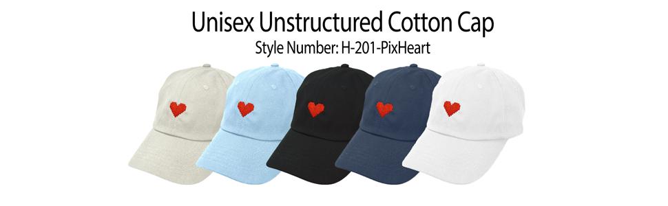 f498f0a6908 Amazon.com  DALIX Pixel Heart Hat Womens Dad Hats Cotton Caps ...