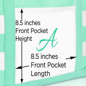 shopping tote front pocket dimensions
